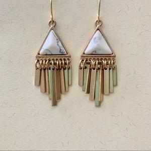 Jewelry - Geometric boho earrings gold and white